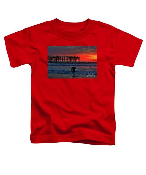 Christmas Surfer Sunset Toddler T-Shirt