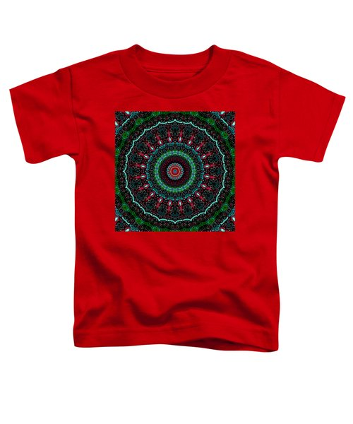 Toddler T-Shirt featuring the digital art Christmas Wreath Kaleidoscope by Joy McKenzie