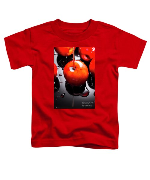 Closeup Of Red Candy Apple On Stick Toddler T-Shirt