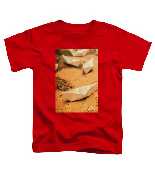 Closeup Toned Image Of Paper Boats On World Map Toddler T-Shirt