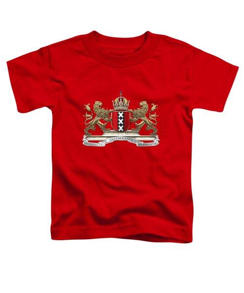 Coat Of Arms Of Amsterdam Over Red Velvet Toddler T-Shirt