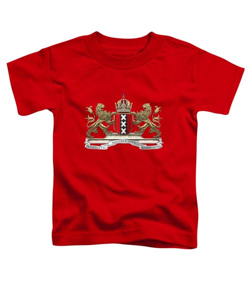 Coat Of Arms Of Amsterdam Over Red Velvet Toddler T-Shirt