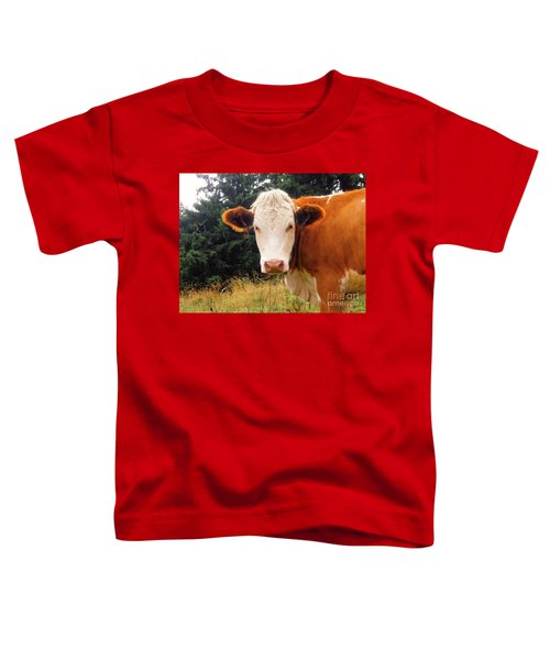 Toddler T-Shirt featuring the photograph Cow In Pasture by MGL Meiklejohn Graphics Licensing