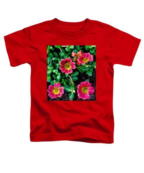 Dark Pink Purselane Flowers Toddler T-Shirt