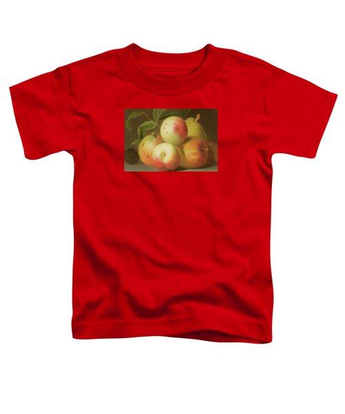 Detail Of Apples On A Shelf Toddler T-Shirt by Jakob Bogdany