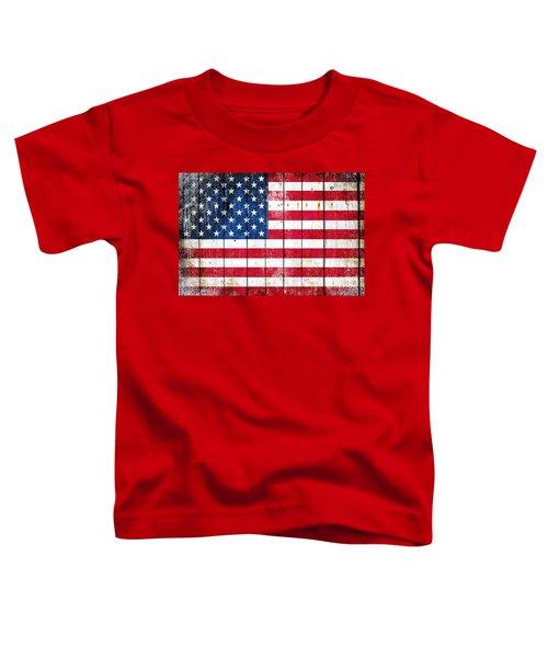 Distressed American Flag On Wood Planks - Horizontal Toddler T-Shirt
