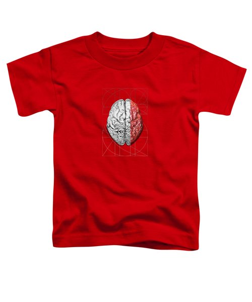Dualities - Half-silver Human Brain On Red And Black Canvas Toddler T-Shirt