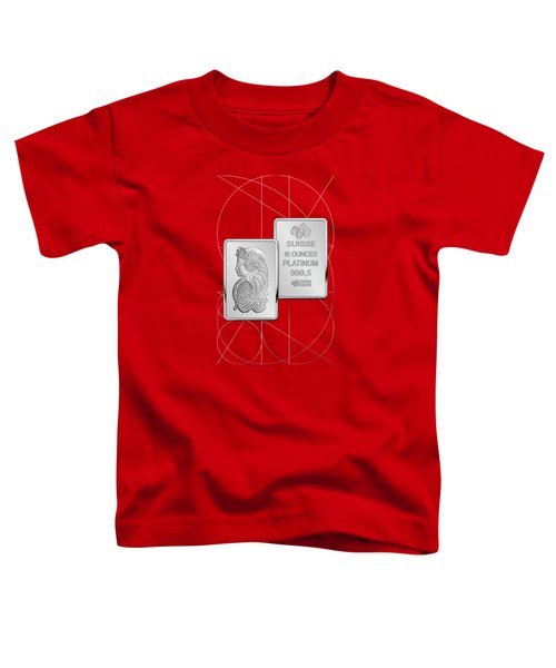 Fortuna Suisse Minted Platinum Bar - Obverse And Reverse Over Red Canvas Toddler T-Shirt