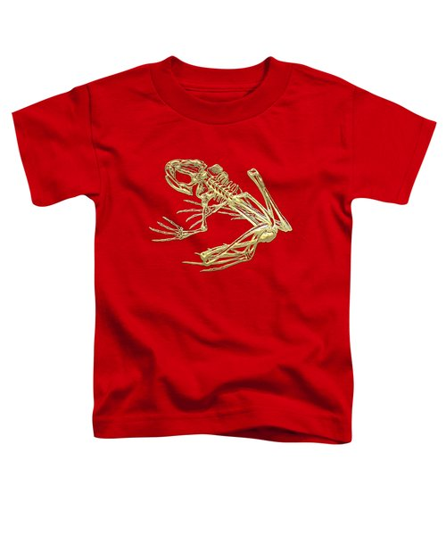 Frog Skeleton In Gold On Red  Toddler T-Shirt by Serge Averbukh