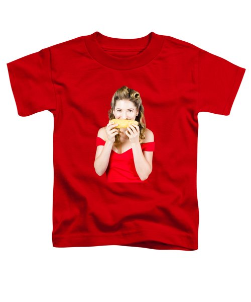 Funny Vegetable Woman With Corn Cob Smile Toddler T-Shirt