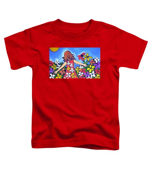 Toddler T-Shirt featuring the painting Garden Of Joy by Winsome Gunning