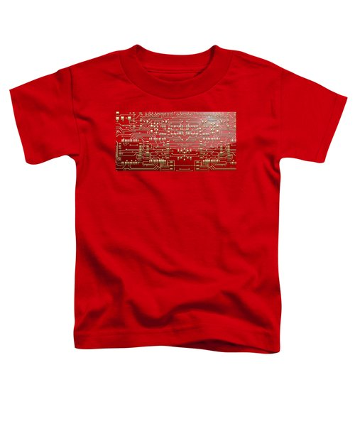 Gold Circuitry On Red Toddler T-Shirt
