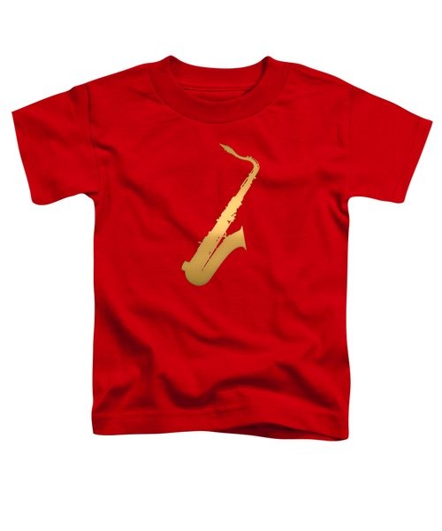 Gold Embossed Saxophone On Red Background Toddler T-Shirt by Serge Averbukh