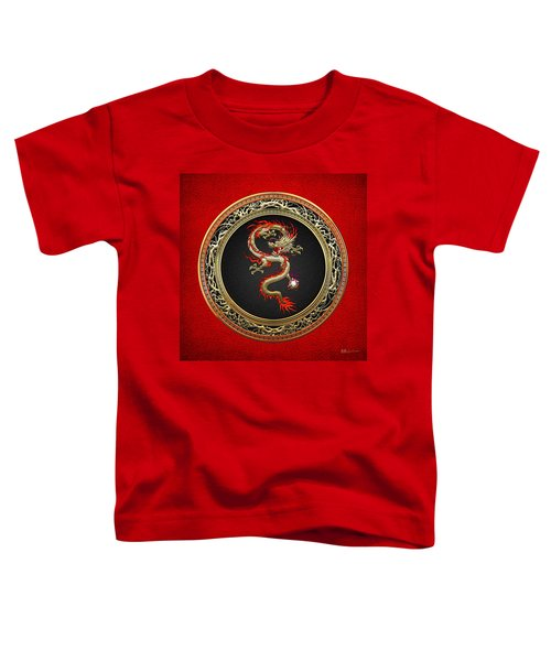 Golden Chinese Dragon Fucanglong On Red Leather  Toddler T-Shirt by Serge Averbukh
