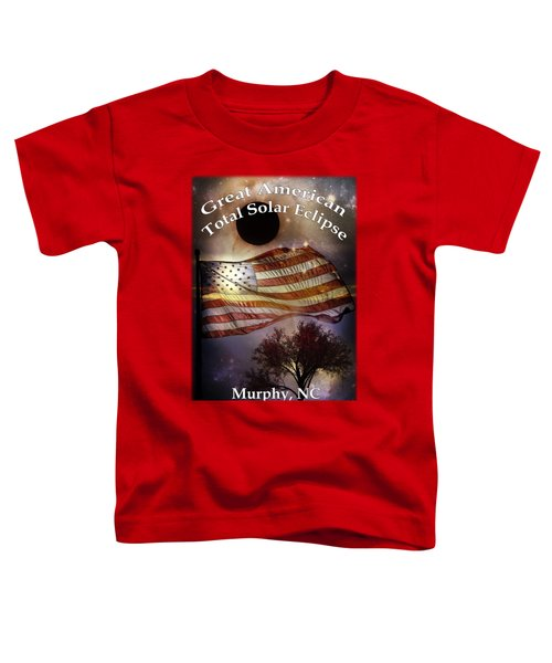 Toddler T-Shirt featuring the digital art Great American Eclipse American Flag T Shirt Art by Debra and Dave Vanderlaan