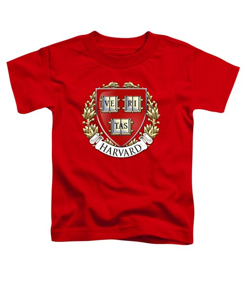Harvard University Seal - Coat Of Arms Over Colours Toddler T-Shirt by Serge Averbukh