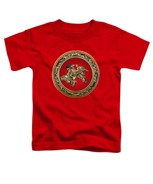 Hokusai - Shoki Riding Shishi Lion On Red  Toddler T-Shirt