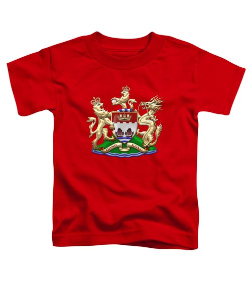 Hong Kong - 1959-1997 Coat Of Arms Over Red Leather  Toddler T-Shirt by Serge Averbukh