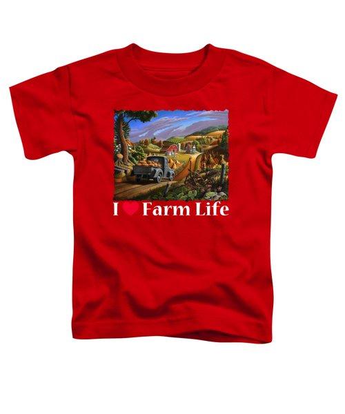I Love Farm Life Shirt - Taking Pumpkins To Market - Farm Landscape Toddler T-Shirt