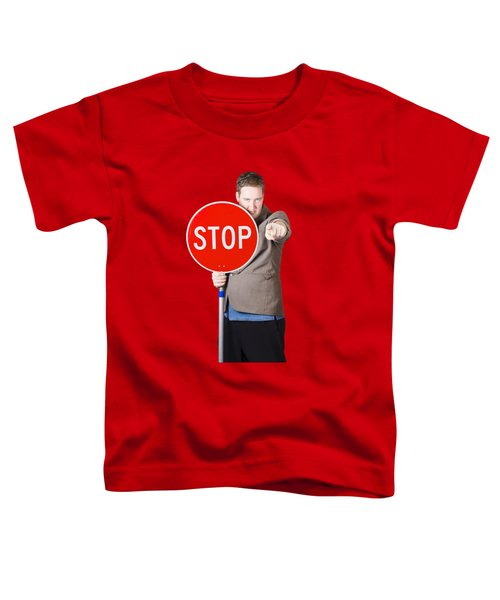Toddler T-Shirt featuring the photograph Isolated Man Holding Red Traffic Stop Sign by Jorgo Photography - Wall Art Gallery
