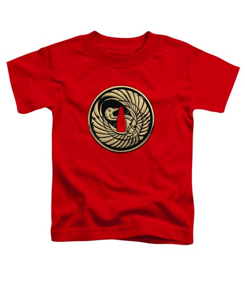 Japanese Katana Tsuba - Golden Crane On Black Steel Over Red Velvet Toddler T-Shirt