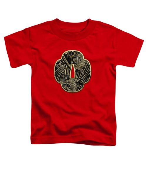 Japanese Katana Tsuba - Golden Twin Koi On Black Steel Over Red Velvet Toddler T-Shirt