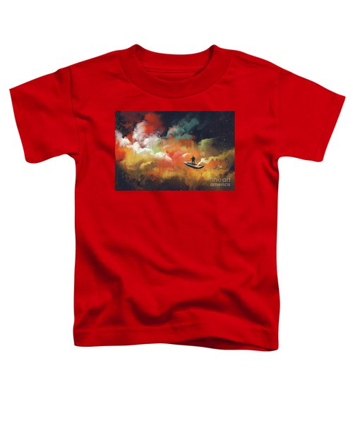 Toddler T-Shirt featuring the painting Journey To Outer Space by Tithi Luadthong