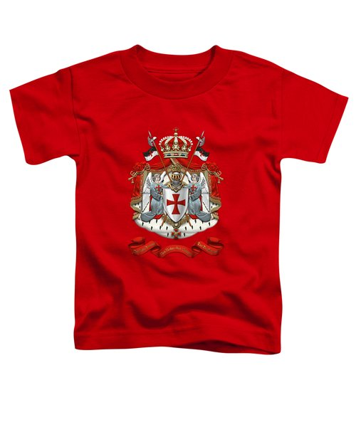 Knights Templar - Coat Of Arms Over Red Velvet Toddler T-Shirt by Serge Averbukh