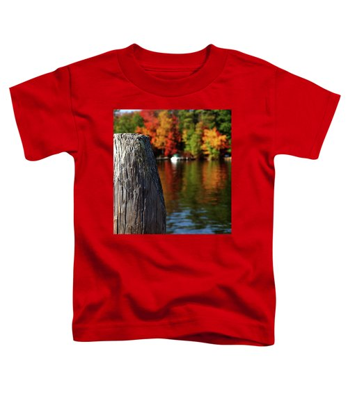 Lake Winnepesaukee Dock With Foliage In The Distance Toddler T-Shirt