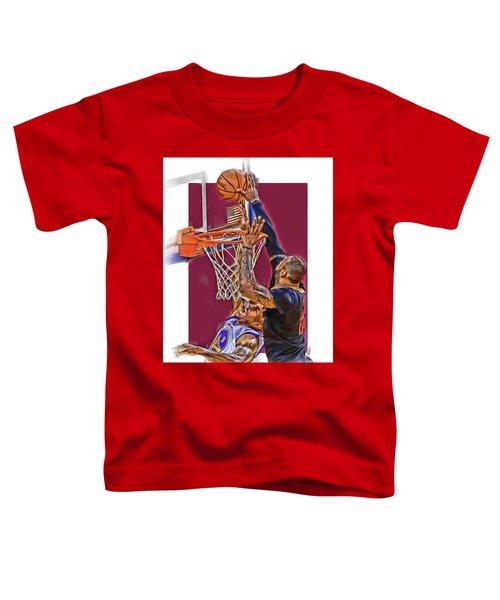 Lebron James Cleveland Cavaliers Oil Art Toddler T-Shirt by Joe Hamilton