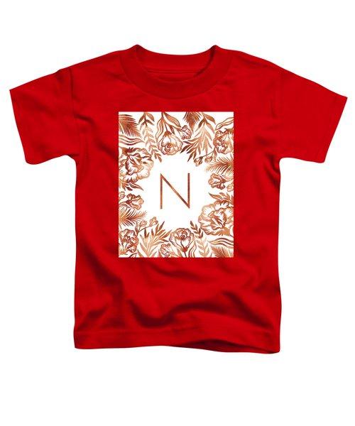 Letter N - Rose Gold Glitter Flowers Toddler T-Shirt
