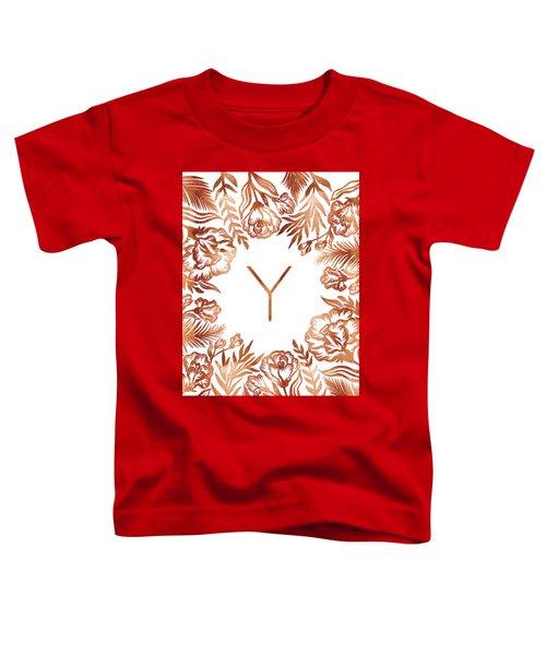 Letter Y - Rose Gold Glitter Flowers Toddler T-Shirt