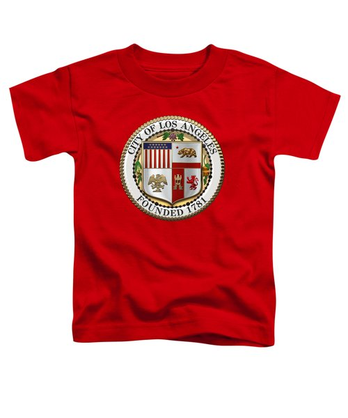 Los Angeles City Seal Over Red Velvet Toddler T-Shirt by Serge Averbukh