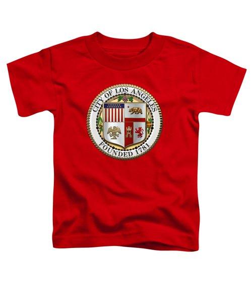 Los Angeles City Seal Over Red Velvet Toddler T-Shirt