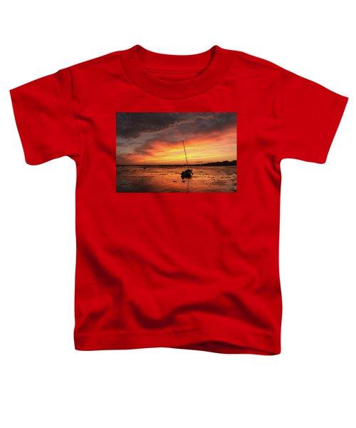 Low Tide Sunset Sailboats Toddler T-Shirt