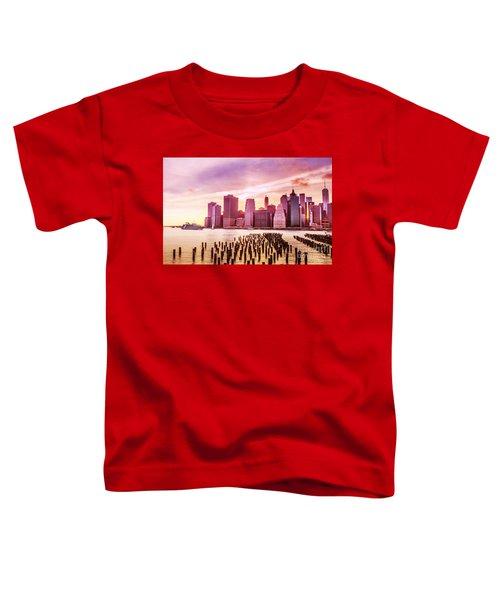 Lower Manhattan And Ferry Toddler T-Shirt