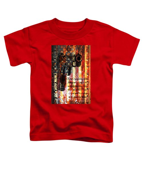 M1911 Pistol And Second Amendment On Rusted American Flag Toddler T-Shirt