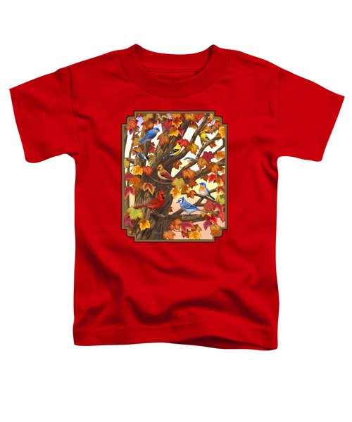 Maple Tree Marvel - Bird Painting Toddler T-Shirt by Crista Forest