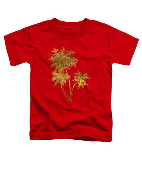 Metallic Gold Palm Trees Tropical Trendy Art Toddler T-Shirt