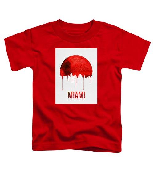 Miami Skyline Red Toddler T-Shirt by Naxart Studio