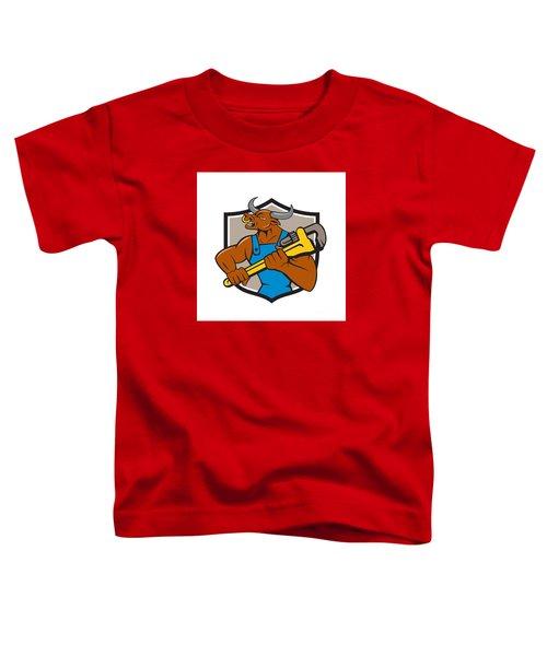 Minotaur Bull Plumber Wrench Crest Cartoon Toddler T-Shirt by Aloysius Patrimonio
