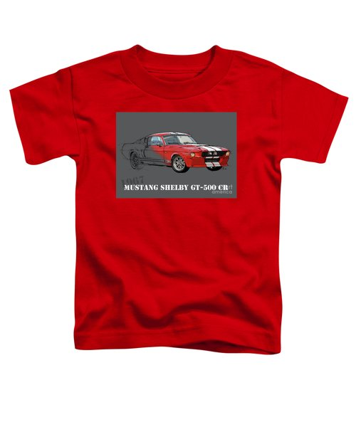 Mustang Shelby Gt500 Red, Handmade Drawing, Original Classic Car For Man Cave Decoration Toddler T-Shirt