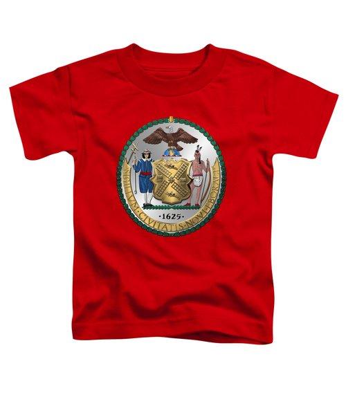 New York City Coat Of Arms - City Of New York Seal Over Red Velvet Toddler T-Shirt