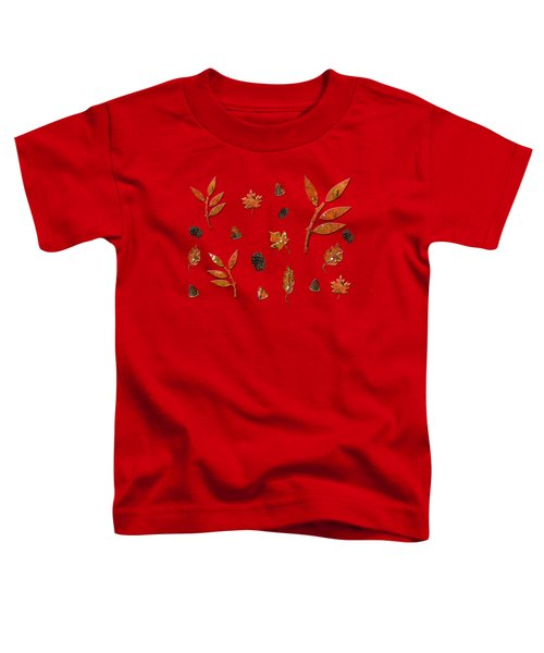 Orange Leaves Pine Cones Toddler T-Shirt