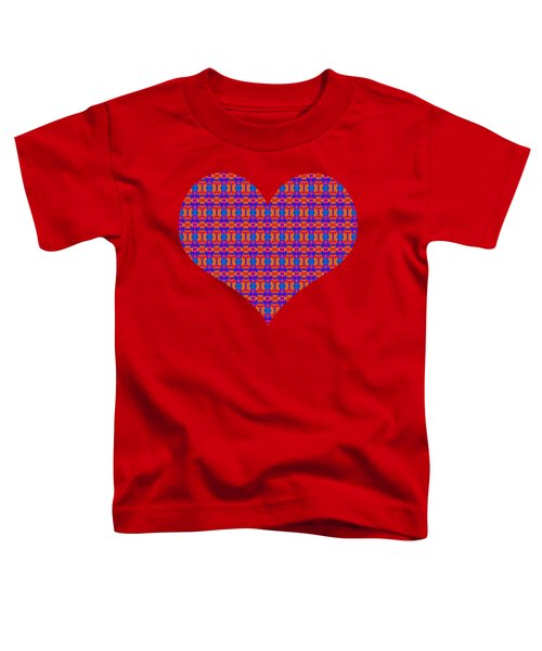 Patterned Art Heart In Blue And Red Toddler T-Shirt
