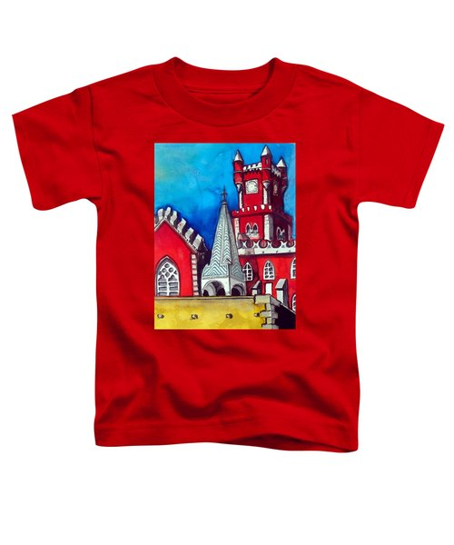 Toddler T-Shirt featuring the painting Pena Palace In Portugal by Dora Hathazi Mendes