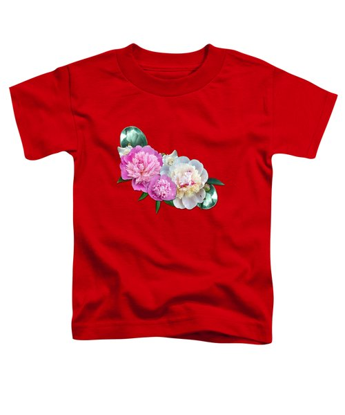 Peonies In Pink And Blue Toddler T-Shirt