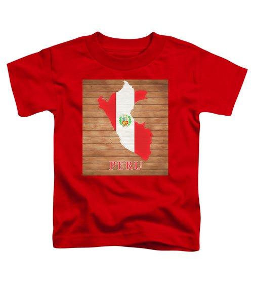 Peru Rustic Map On Wood Toddler T-Shirt