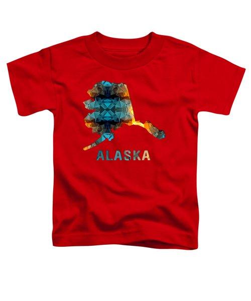 Polygon Mosaic Parchment Map Alaska Toddler T-Shirt