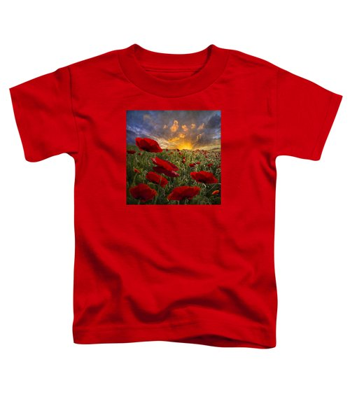 Toddler T-Shirt featuring the photograph Poppy Field by Debra and Dave Vanderlaan